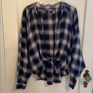 Urban Outfitters Blue and White Tie Front Flannel